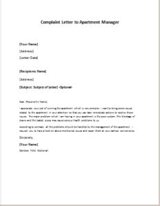 complaint letter  apartment manager writelettercom