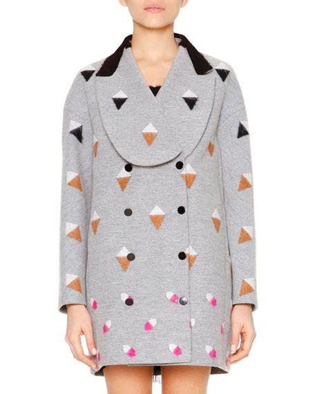 Marco De Vincenzo Long Sleeve Shawl Collar Coat Gray