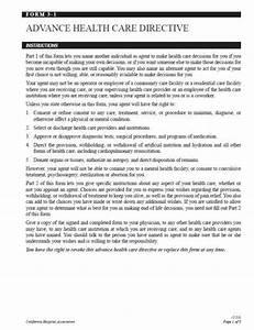 Advance health care directive california hospital for Advanced directive template