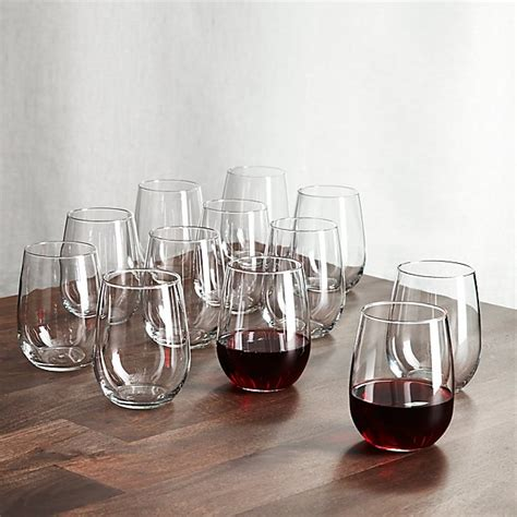 stemless wine glasses  oz set   crate  barrel