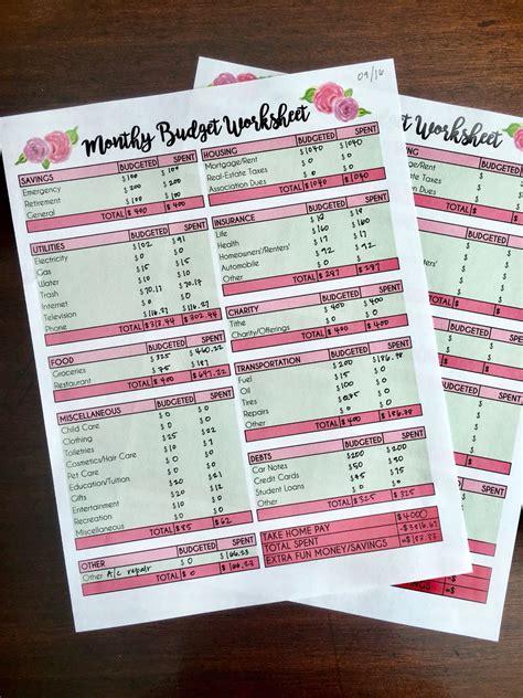 monthly budget worksheet  printable budgeting