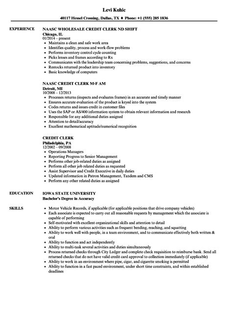 File Clerk Resume by Credit Clerk Resume Sles Velvet