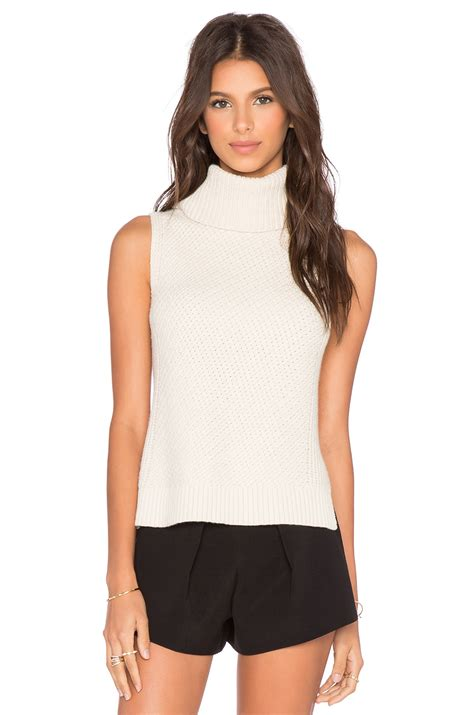 sleeveless turtleneck sweater leo sleeveless turtleneck sweater in winter white