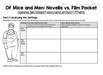 Of Mice And Men Movie Worksheet  Novellafilm Comparison Activity