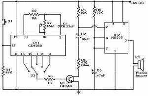 Selective Timer Alarm Circuit Using Ic 555  U0026 Cd4060