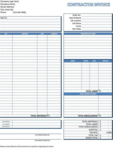 contractor invoice template excel  word