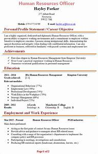 human resources officer cv template 1 With hr cv