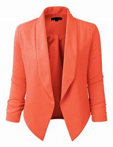 Womens Textured 3/4 Sleeve Open Blazer Jacket (CLEARANCE ...