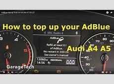 AdBlue top up Audi A4 A5 A6 A7 Q5 Q7 YouTube