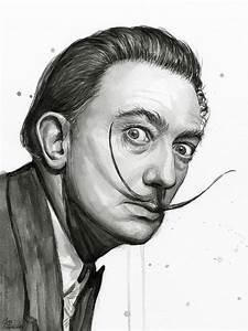 Salvador Dali Portrait Black And White Watercolor Painting