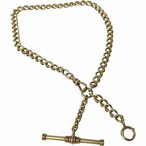 Victorian 14K Yellow Gold Pocket Watch Chain/Necklace with ...
