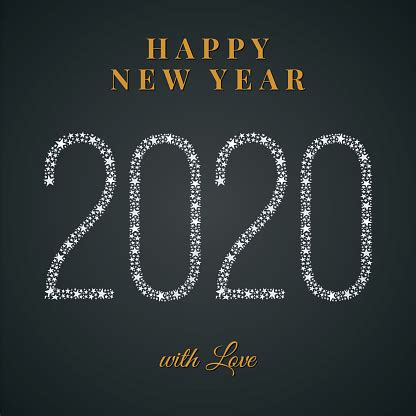 2020 Happy New Year Greeting Card Winter Holiday Design ...