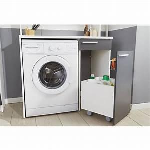 Meuble Pour Machine À Laver : meuble rangement pour machine laver verzak 104cm gris ~ Dode.kayakingforconservation.com Idées de Décoration