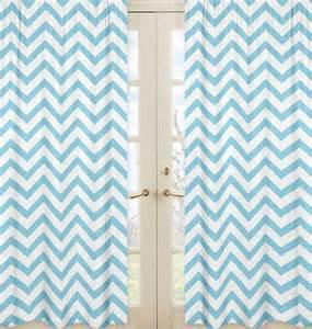 turquoise blue white large chevron print zig zag window