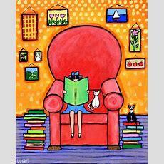 Books White Cat Girl Reading  Shelagh Duffett Print En 2019  Paintings Ii  Lectura, Libros