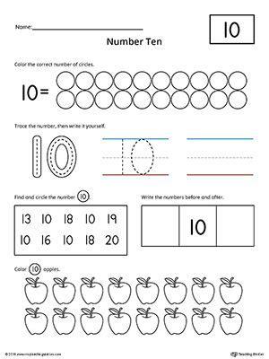 number 10 practice worksheet numbers counting