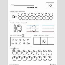 Number 10 Practice Worksheet  Numbers & Counting  Numbers Kindergarten, Preschool Worksheets
