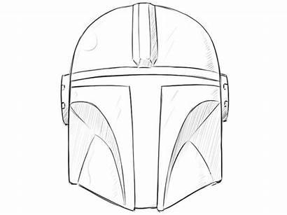 Mandalorian Helmet Draw Drawing Easy Wars Step