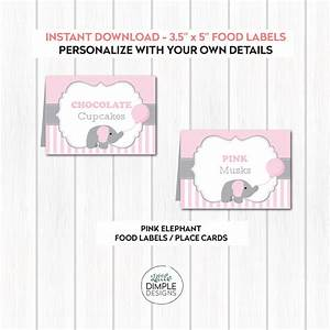 pink baby elephant printable candy buffet food labels With baby shower place cards template