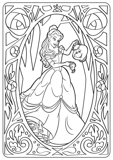 printable disney belle  coloring pages