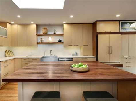 contemporary kitchen island  black walnut butcher