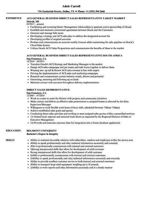 Direct Sales Resume by Direct Sales Representative Resume Sles Velvet