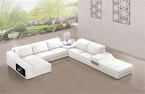 Canapé Panoramique 10 Places : canap panoramique cuir elegancia blanc canap cuir blanc 6 places 185x375x415x95 ~ Teatrodelosmanantiales.com Idées de Décoration