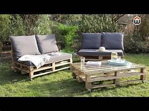 Comment Faire Un Canapé En Palette : cr er son salon de jardin en palettes en bois diy youtube ~ Dallasstarsshop.com Idées de Décoration