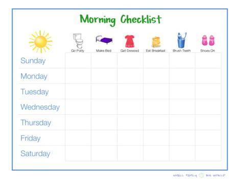 Free Printable Morning Routine Charts Success