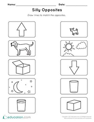 silly opposites worksheet education com