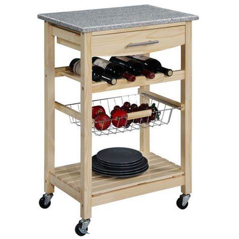 kitchen cart with granite top by linon finish