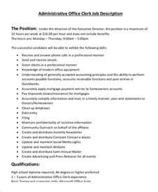 office clerk description 10 free word pdf