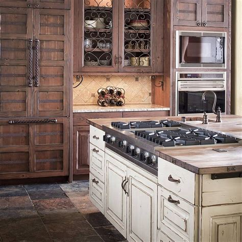 rustic wood distressed painted wood cabinets double oven