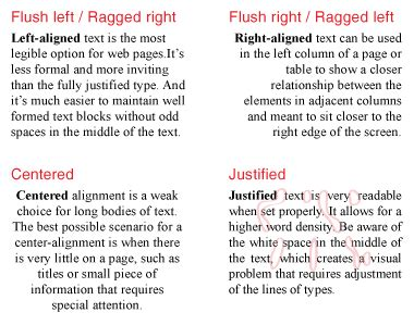 web typography paragraph alignment