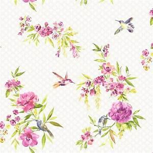 Holden Amaya Floral Pattern Flower Bird Motif Metallic ...