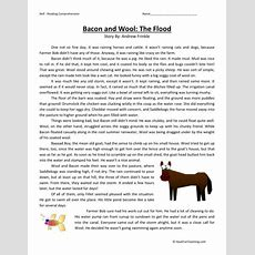Reading Comprehension Worksheet  Bacon And Wool The Flood