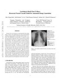 (PDF) Learning to Read Chest X-Rays: Recurrent Neural Cascade Model for ...