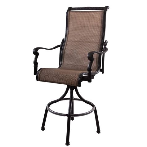 patio furniture aluminum sling pub chair high back swivel