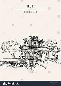 Hue Vietnam Imperial Citadel Gate Forbidden Stock Vector