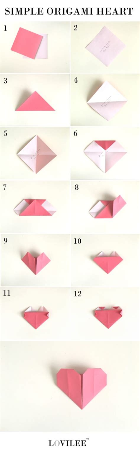 simple origami heart step  step instructions lovilee blog
