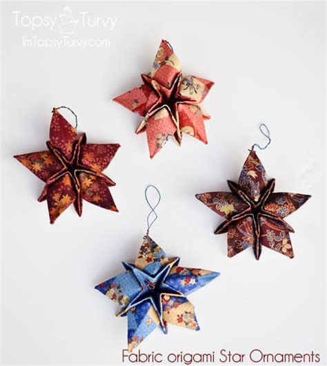 fabric origami christmas star ornaments ashlee marie