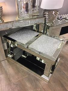 crushed diamond glitz glass crystal mirrored coffee table With crystal glass coffee table