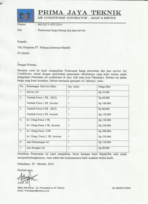 Contoh Surat Penawaran Harga Barang by Penawaran Harga Barang Dan Jasa