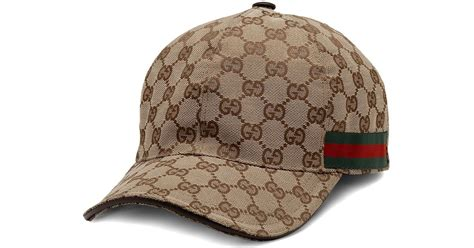 4dce65f41e1 Lyst Gucci Canvas Baseball Hat In Brown For Men