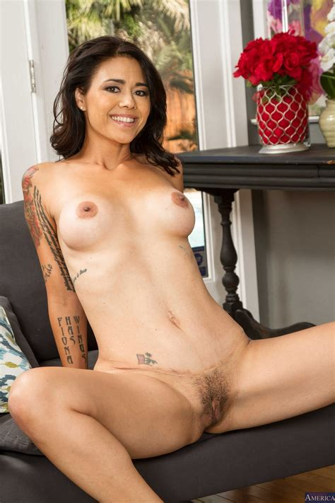 Dana Vespoli in sexy red dress stripping in front of the ...