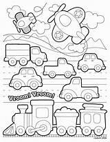 Transportation Coloring Printable Toddlers Preschool Transport Land Vehicles Template Colouring Train Modes Sheets Worksheets Kindergarten Printables Templates Activity Activities Road sketch template