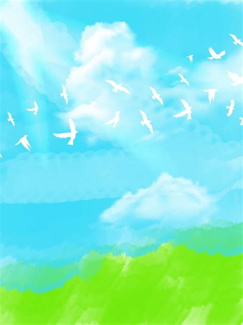 Hand Drawn Blue Sky White Clouds Dove Background Hand