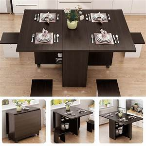 3, In, 1, Folding, Wooden, Counter, Dining, Table, With, Wheels, Saving, Space, For, Kitchen, Dining, Room, W