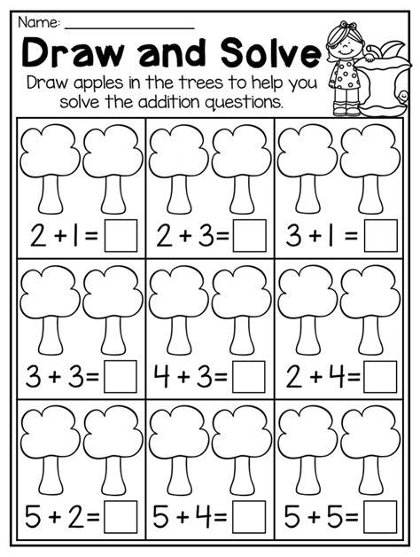 kindergarten addition worksheet this fall kindergarten math and literacy worksheet