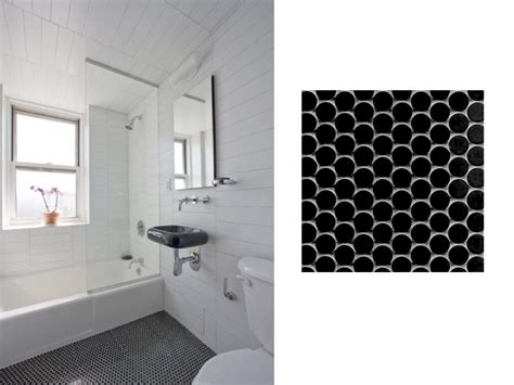 Black And White Penny Tile Bathrooms Interior Decorating